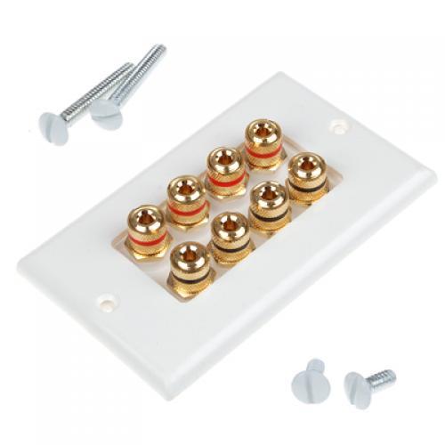 Speaker Cable Wall Plate - 8 Banana Plug
