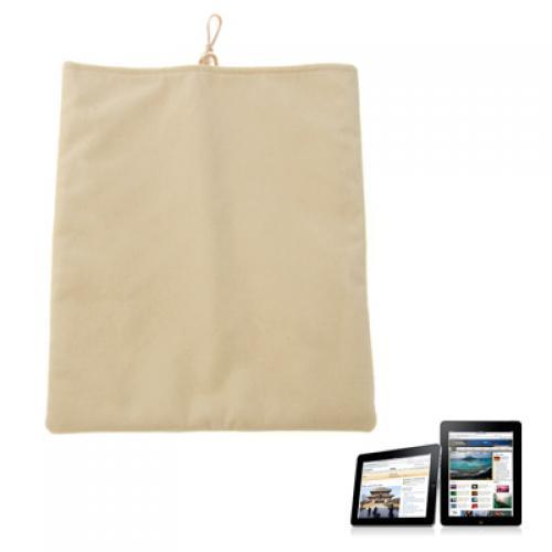 Beige Velvet Flocking Case Pouch for iPad Laptop