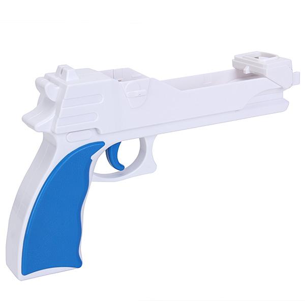 Shooter Light Gun Pistol for Nintendo Wii Controller - White with Blue