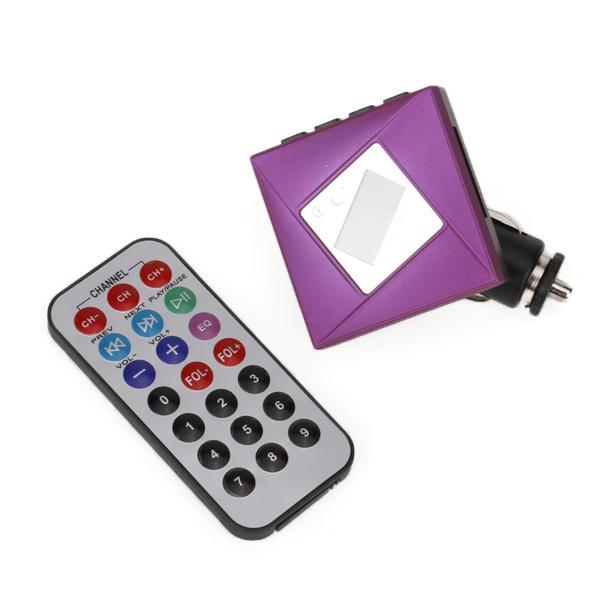 Car Kit Hands-free MP3 Player Wireless FM Transmitter Modulator + 8GB TF Card - Purple