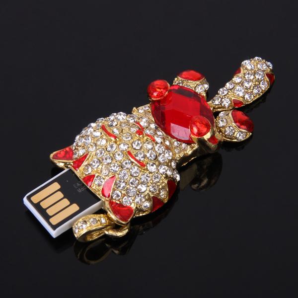 16 GB USB 2.0 Glitter Rhinestone Cat Style Flash Memory Drive Flash Disk Pen Drive