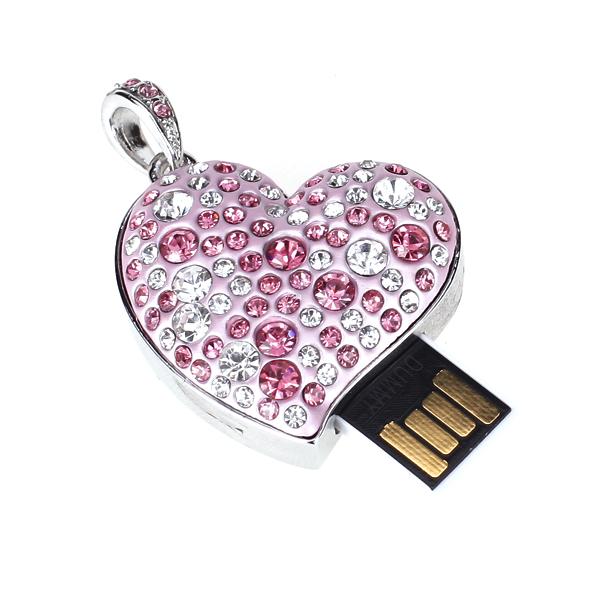 4 GB USB 2.0 Glitter Rhinestone Heart Style Flash Memory Drive Flash Disk Pen Drive - Pink