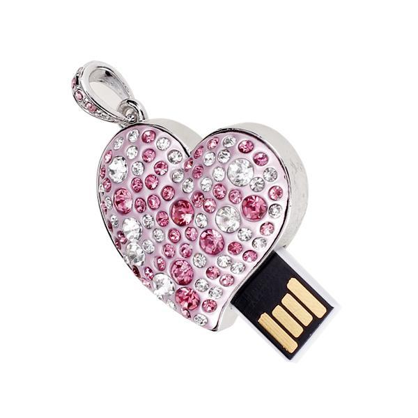 16 GB USB 2.0 Glitter Rhinestone Heart Style Flash Memory Drive Flash Disk Pen Drive - Pink