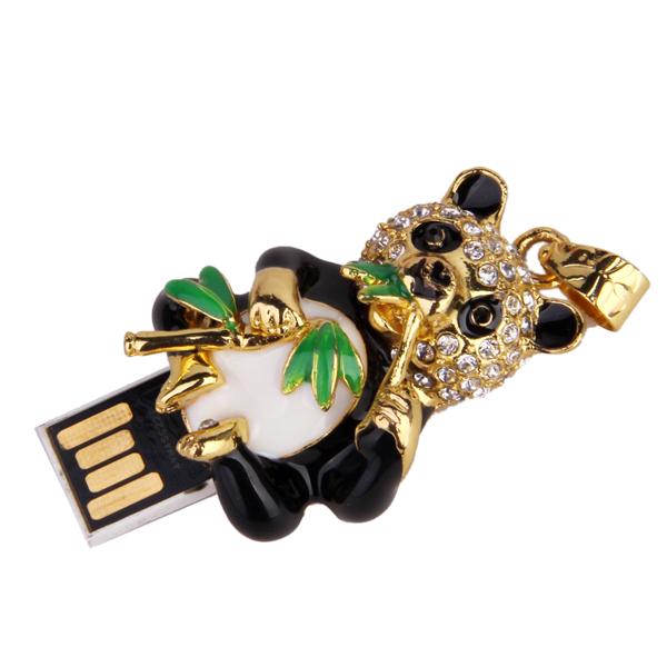 8 GB USB 2.0 Glitter Rhinestone Panda & Bamboo Flash Drive Flash Disk Pen Drive