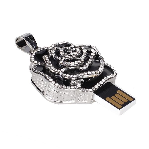 8 GB USB 2.0 Glitter Rhinestone Flower Style Flash Memory Drive Flash Disk Pen Drive - Black