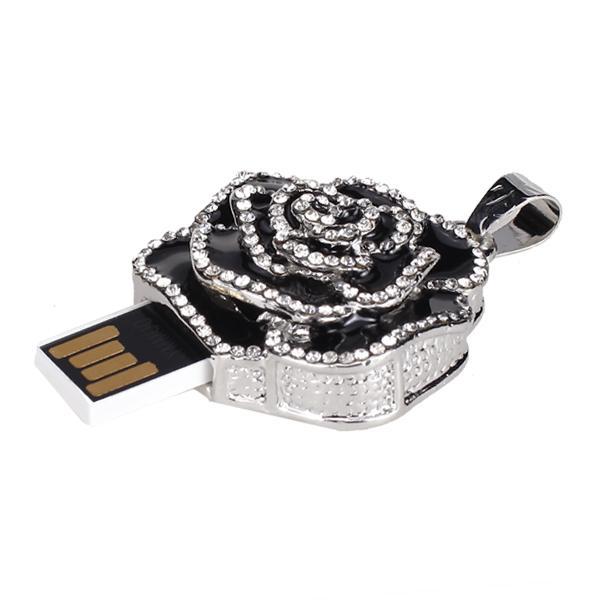 16 GB USB 2.0 Glitter Rhinestone Flower Style Flash Memory Drive Flash Disk Pen Drive - Black