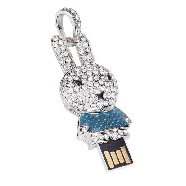 2 GB USB 2.0 Glitter Rhinestone Rabbit Style Flash Memory Drive Flash Disk Pen Drive - Blue