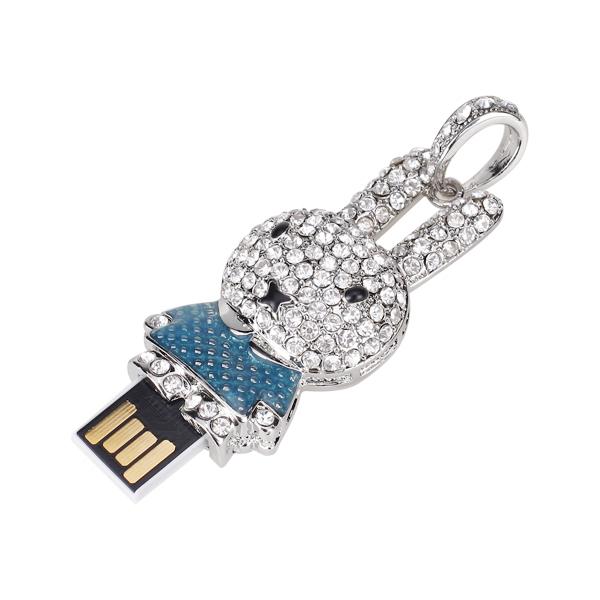 16 GB USB 2.0 Glitter Rhinestone Rabbit Style Flash Memory Drive Flash Disk Pen Drive - Blue