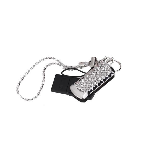 2 GB USB 2.0 Ultra Compact Glitter Rhinestone Swing Flash Memory Drive Flash Disk Pen Drive - Silver