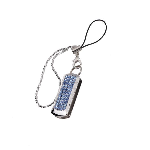 8 GB USB 2.0 Ultra Compact Glitter Rhinestone Swing Flash Memory Drive Flash Disk Pen Drive - Blue