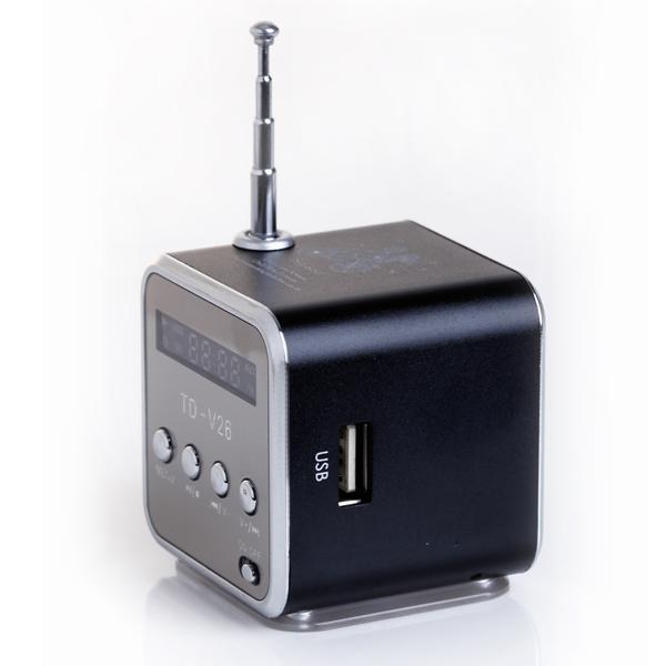TD-V26 Portable Mini Digital Speaker with Micro SD / TF / USB /FM - Black