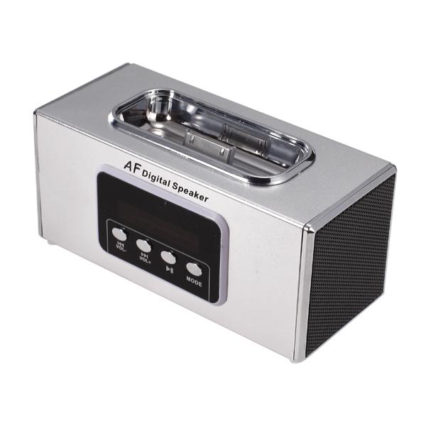 Portable Mini Digital AF Speaker with TF Card Slot / USB Port /FM for Apple iPhone - Silver