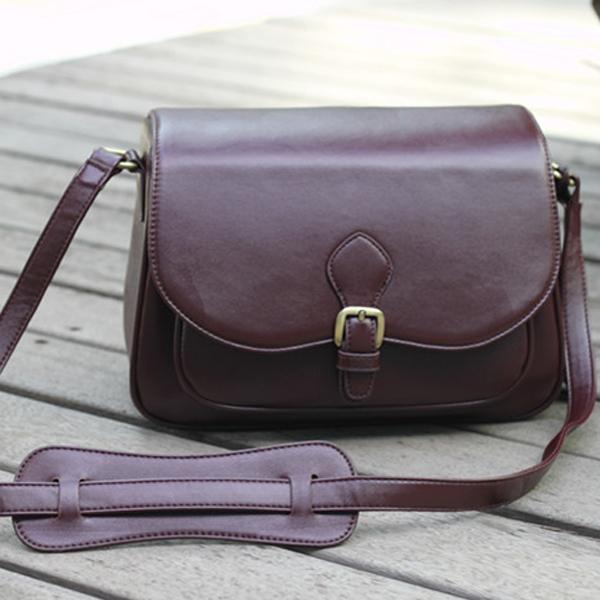 PU Leather Tassels Shoulder Bag Case Pouch for DSLR SLR Camera - Coffee
