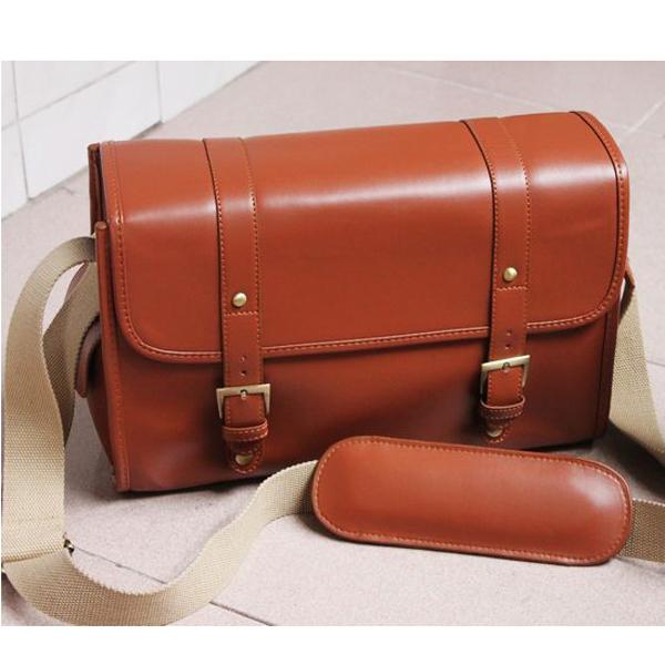 PU Leather Shoulder Bag Case Pouch for SLR Camera Camcorder - Hot Brown (L)