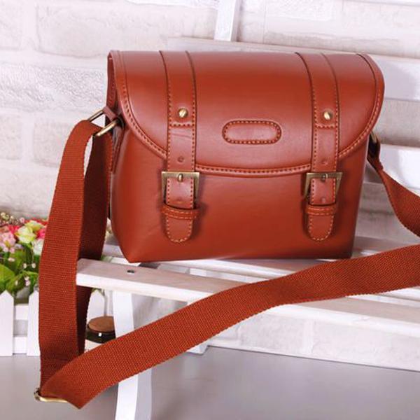 PU Leather Shoulder Bag Case Pouch for SLR Camera Camcorder - Hot Brown