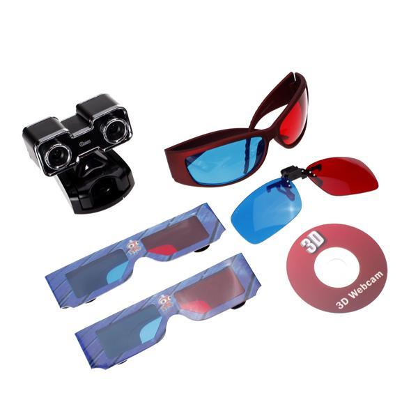 USB 2.0 Double CMOS 3D Webcam with 3D Glasses