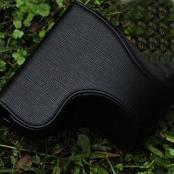Black PU Leather Camera Bag Case w/ Strap for Sony NEX 5C NEX 5N (18-55mm 16mm)