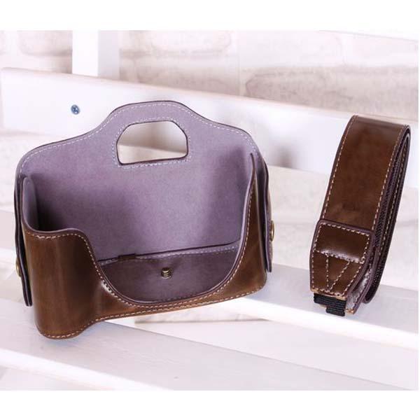 Light Brown PU Leather Case w/ Strap for Canon 600D 1000D 1100D 550D 500D 450D