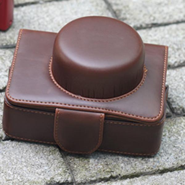 Brown PU Leather Bag Case w/ Strap for Panasonic GX1 GF1 GF2 (14mm 20mm X14-42mm)