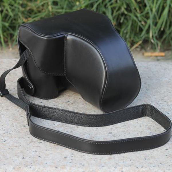 Black PU Leather Bag Case w/ Strap for Panasonic DMC-G3 (14-42mm)
