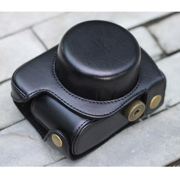 Black PU Leather Bag Case w/ Strap for Panasonic GF3 (14mm 20mm X14-42mm)