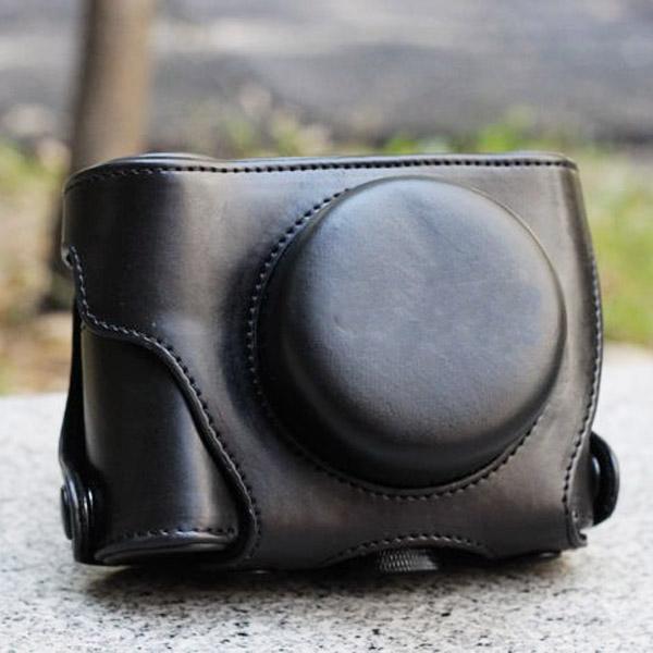 PU Leather Bag Case for Panasonic GF3 (14mm) - Black