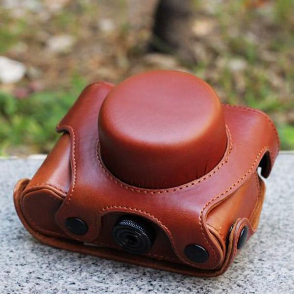 PU Leather Bag Case for Panasonic GF3 (14mm) - Brown