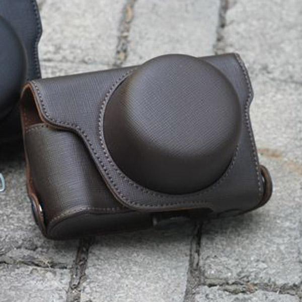 PU Leather Bag Case w/ Strap for Panasonic GX1 GF1 (14mm 20mm X14-42mm) - Dark Brown