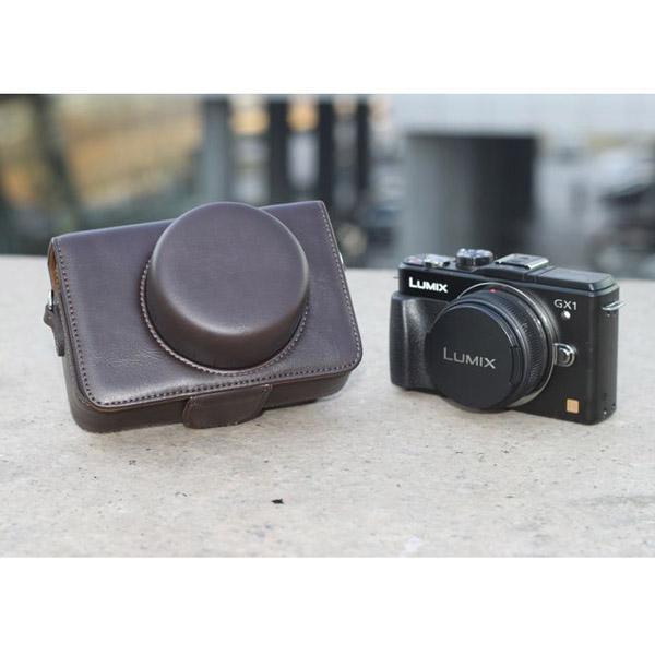 PU Leather Bag Case w/ Strap for Panasonic GX1 GF1 GF2 (14mm 20mm X14-42mm) - Dark Coffee