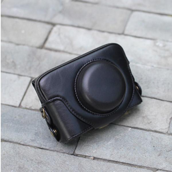 Black PU Leather Bag Case w/ Strap for Panasonic LX3 LX5 / Leica D-LUX4 D-LUX5