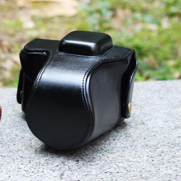 PU Leather Bag Case w/ Flash Slot for Olympus E-PL3 E-PM1 (14-42mm) - Black