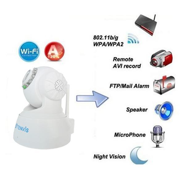 White Tenvis JPT3815W Indoor Security WiFi IP Camera - UK Plug
