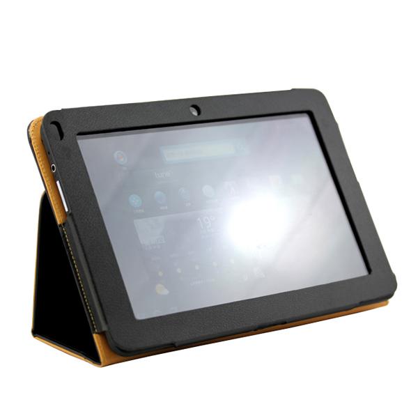 PU Leather Bag Folio Case Cover Stand for Dell Streak 10 Pro - Black
