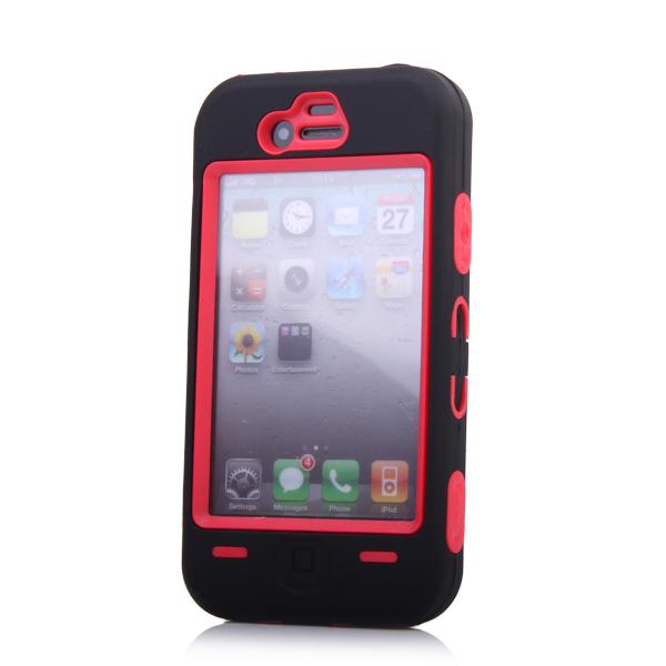 Black White Zebra Pattern Hard Rubber Plastic Combo Case for iPhone 4 4G 4S Red