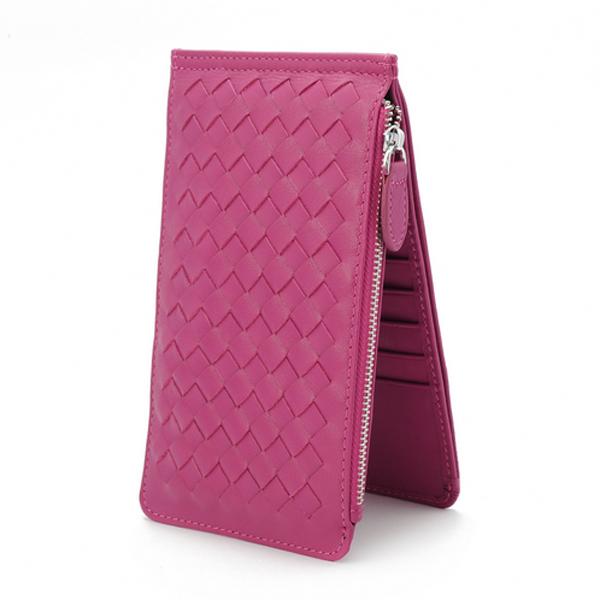 Women Woven Lambskin Leather Wallet Single Zipper Fuchsia