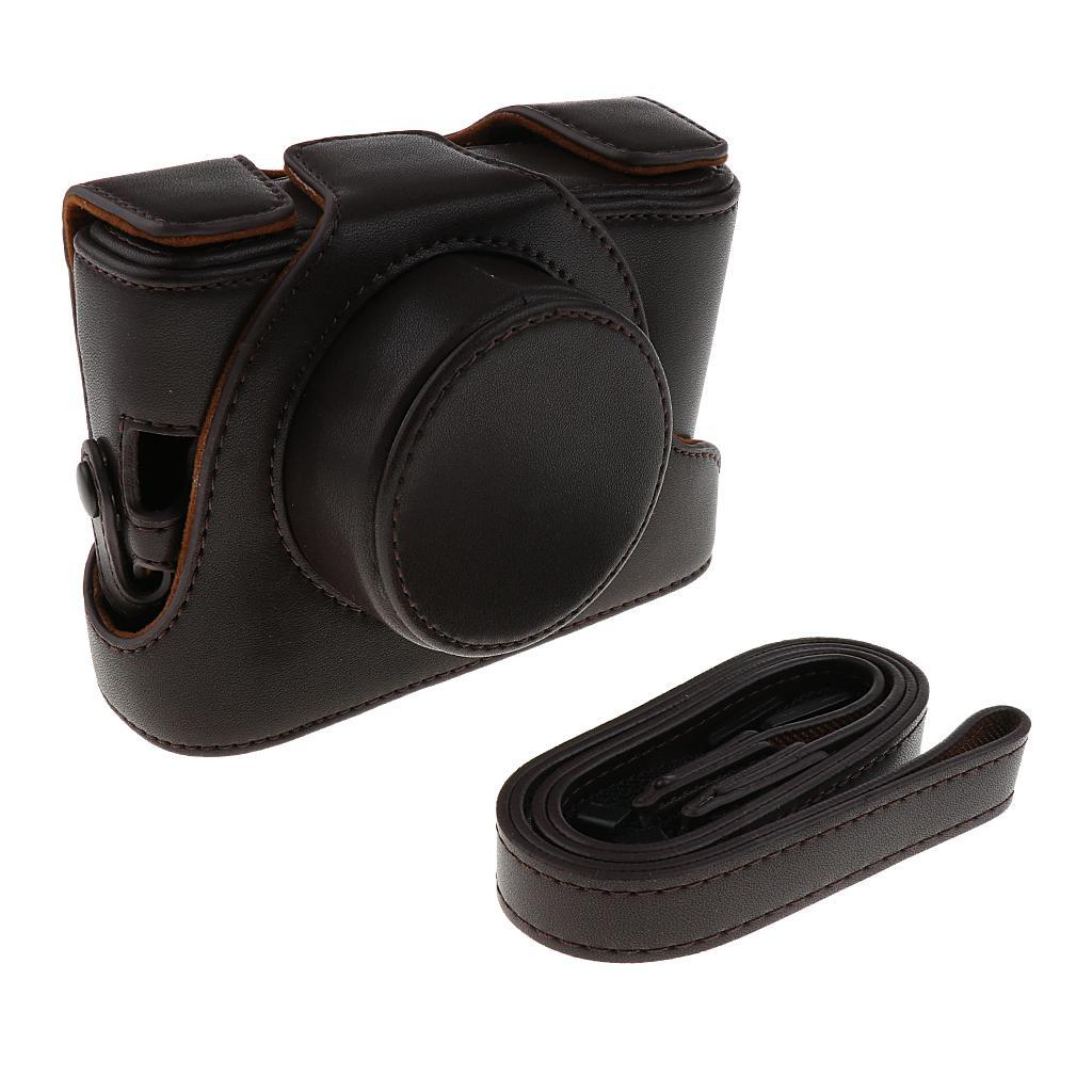 Coffee PU Leather Bag Case w/ Strap for Fujifilm FinePix X100s
