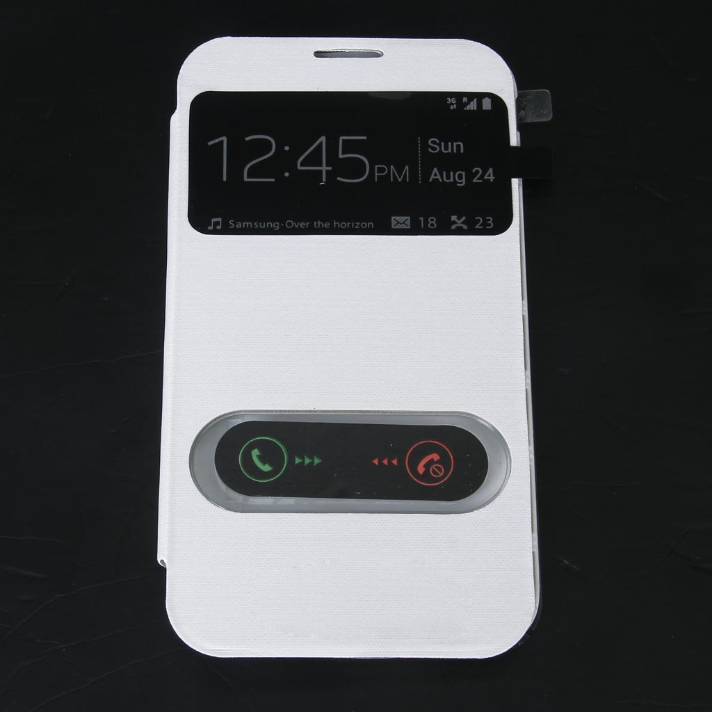 White Flip PU Leather Case Cover Smart Sleep Wake View NFC for Samsung Galaxy Note II N7100 N7108