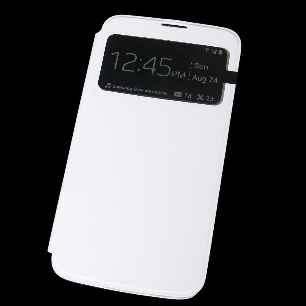 White Flip PU Leather Case Cover Smart Sleep Wake View for Samsung Galaxy Mega i9200 i9208