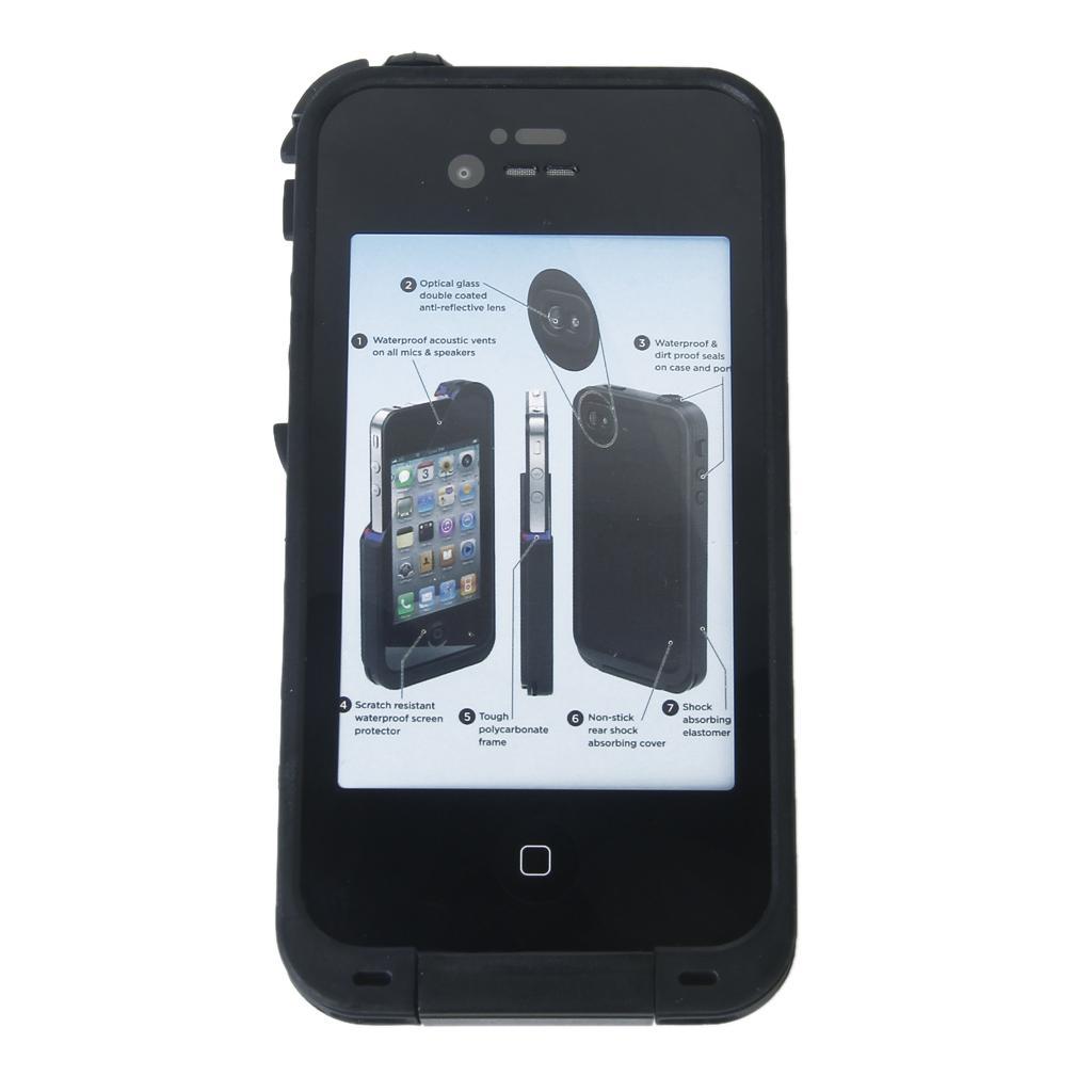 Black Waterproof Shockproof Dirtproof Snowproof Case Cover Shell Set for iPhone 4 4S