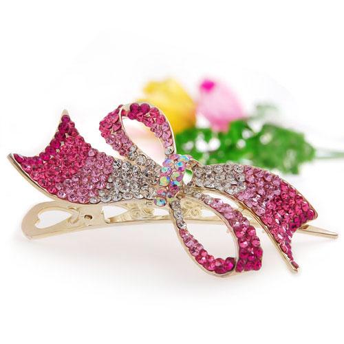Pink Bowknot Rhinestone Jewellery Hair Clip