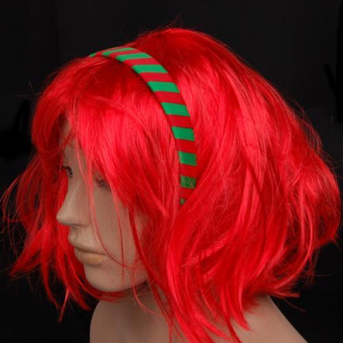 Red Green Woven Ribbon Plastic Headband