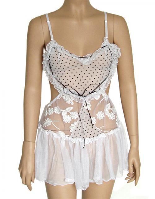 8767 Sexy White Lingerie Open Back Heart Hot Dancer Costume