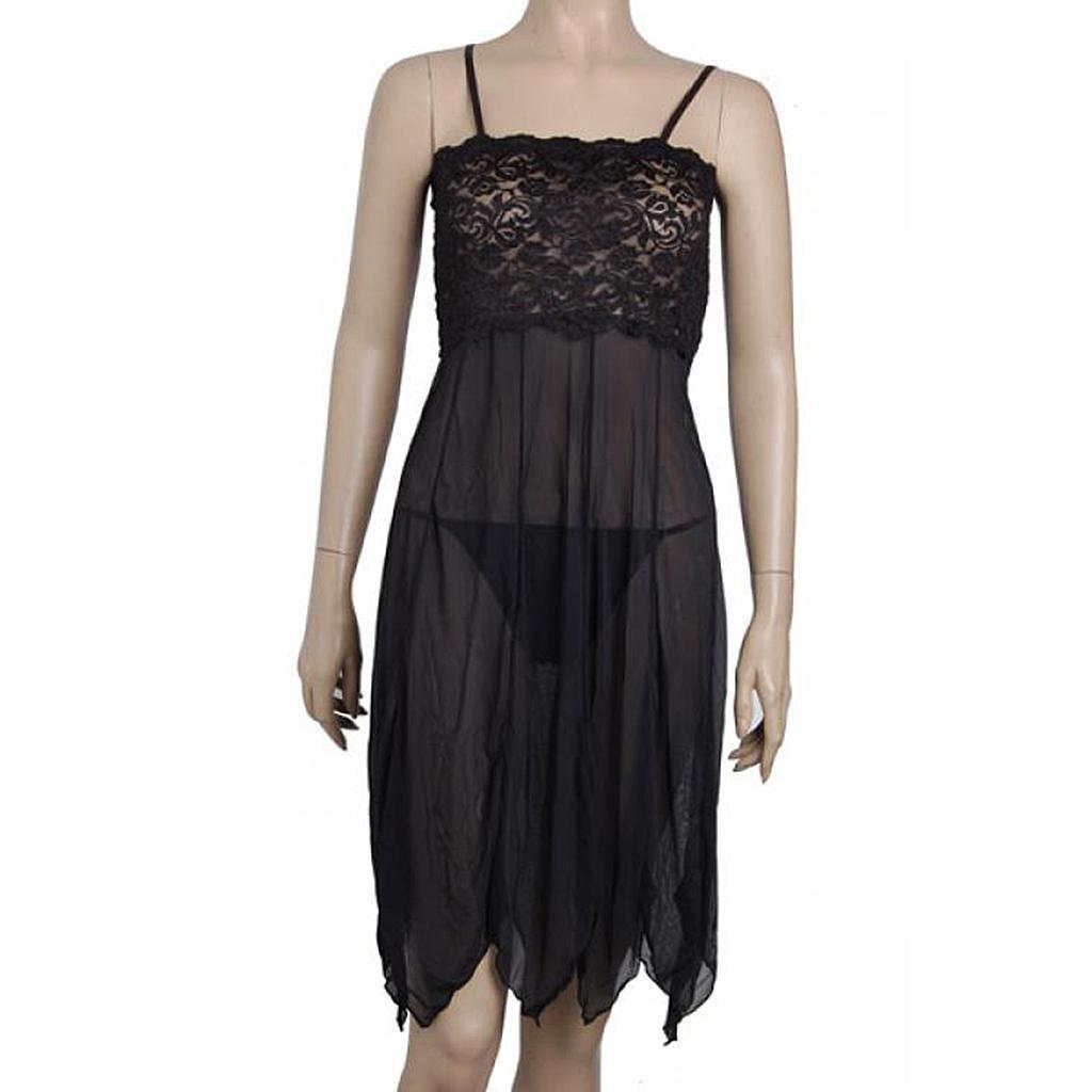 181 Sexy Black Lingerie Hot Costume Sleepwear Robes 2 PC