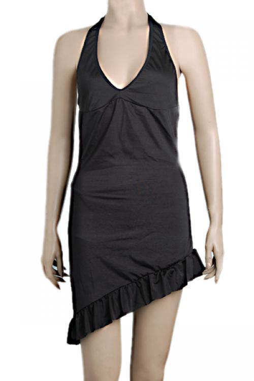 EB108 Sexy Black Dancer Costume Miniskirt Lingerie Dress 2PC