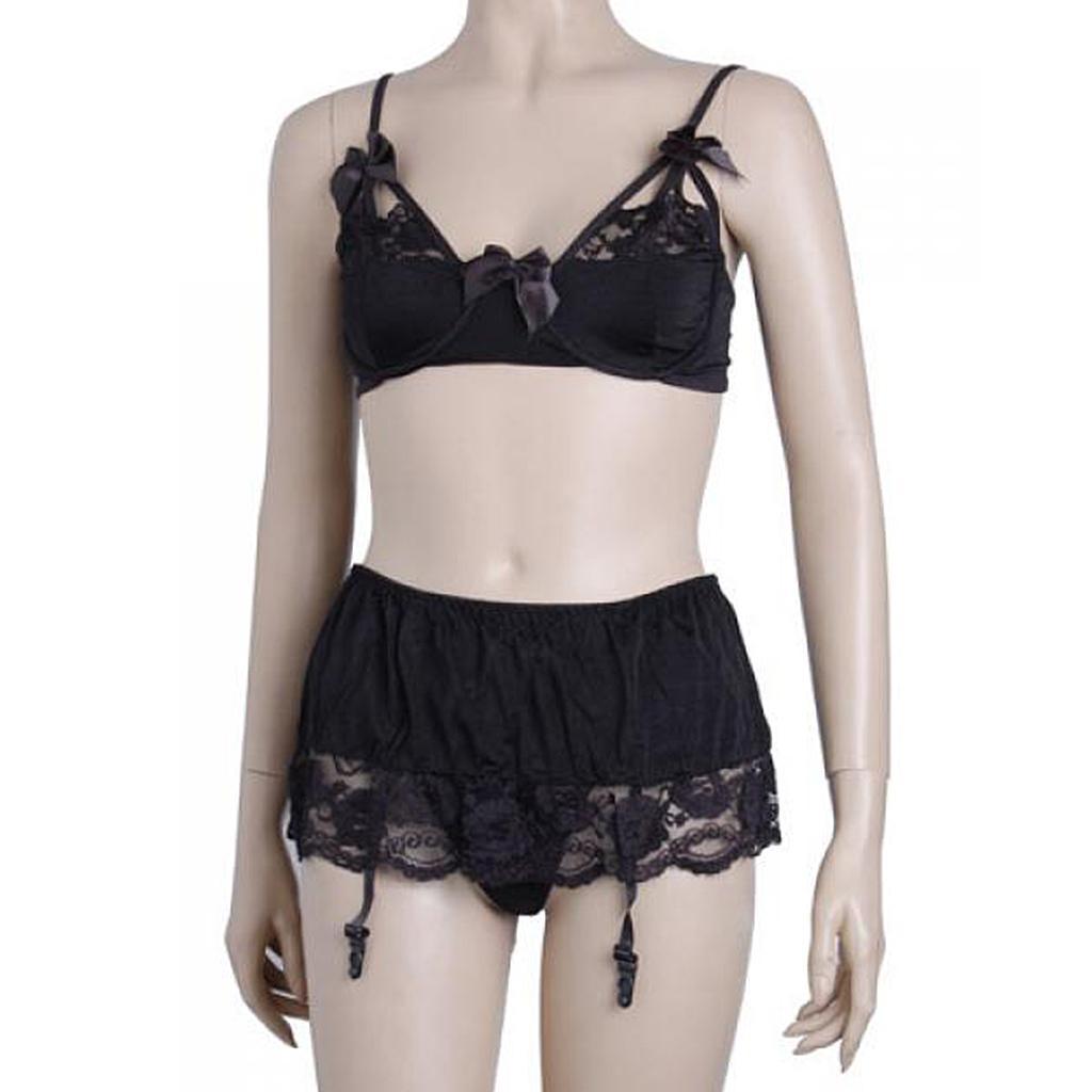 Em061 Sexy Black Dancer Costume Lingerie Camisole 3 PC