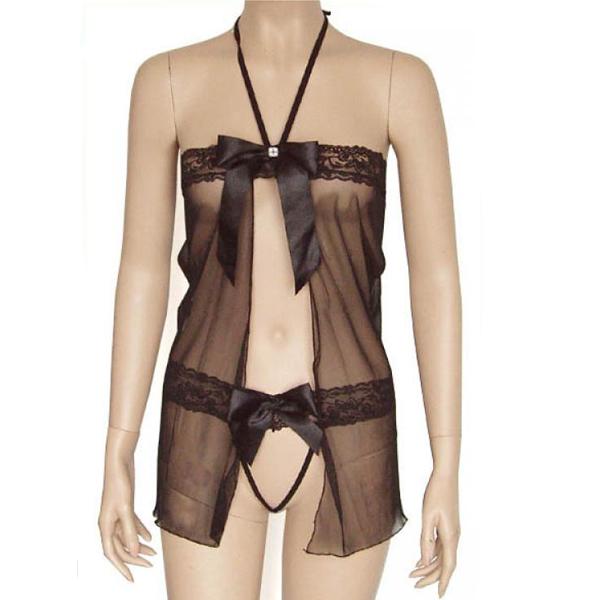960 Sexy Black Lingerie Dancer Costume Minidress