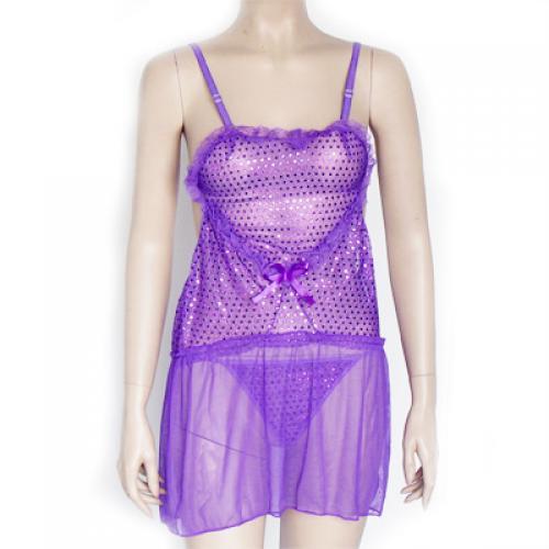 Sexy Purple Lingerie Open Back Heart Shiny Paillette Trim Hot Dancer Costume