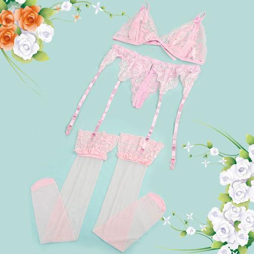 Sexy Lingerie Set - Pink Floral Lace Open Bra & Garter Belt & G-string