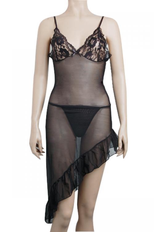Eg010 Sexy Black Long Dress Skirt Dancer Mesh Costume 2 Pc