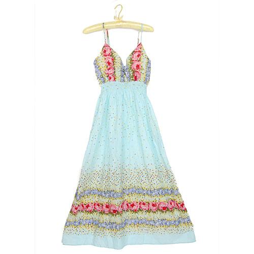 Adjustable Straps Cotton Print Bohemian Floral Maxi Long Dress
